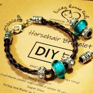 DIY Kit - Make your Own Horsehair Braided Bracelet with Blue / Teal or Pink Glass Bead.