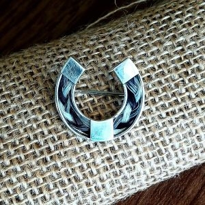 Sterling Silver Horseshoe Brooch Pin inlaid with Horsehair Braid