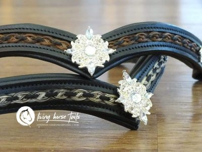 Leather V Browband with Braided Horsehair Inlay and Rhinestones